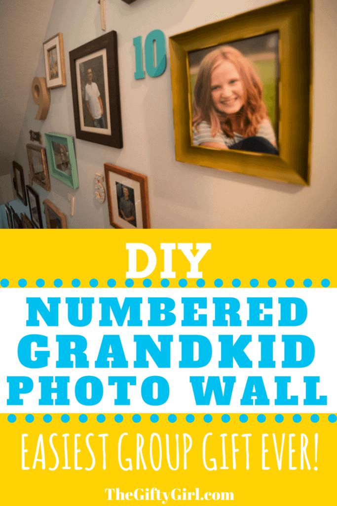 DIY Numbered grandkid photo wall