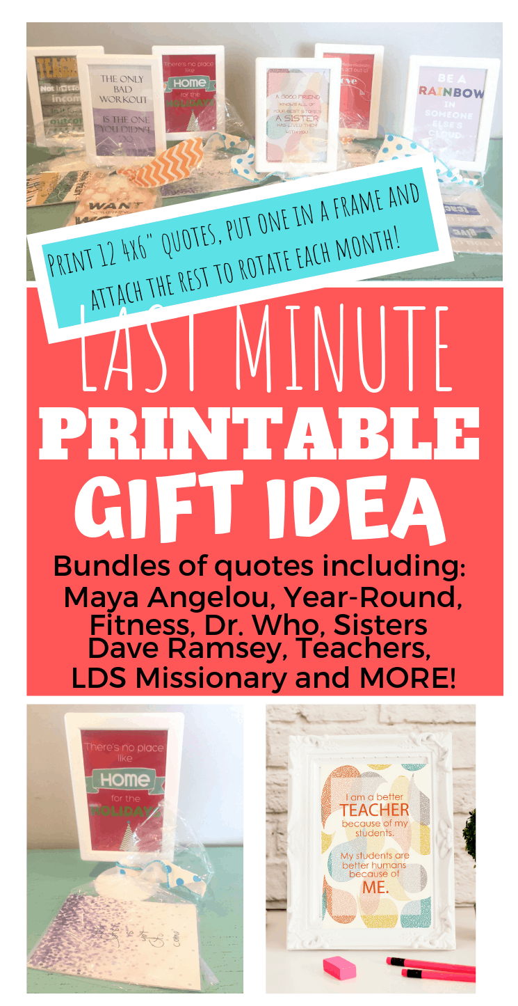 "These QuoteBundles are an amazing last minute gift for anyone on your list! Choose from 13 different bundles of quotes for instant digital download. Print the 4x6"" quotes at your local photo printer, insert one into a frame, then attach the remaining 11 quotes to rotate. 13 different options, a unique, fun and inspiring gift idea! #giftideas #creativegiftideas #quotegifts #quotestoliveby #christmas #lastminutegifts #frugalgifts #etsy #teachergifts #teachergiftideas #sistergiftideas"