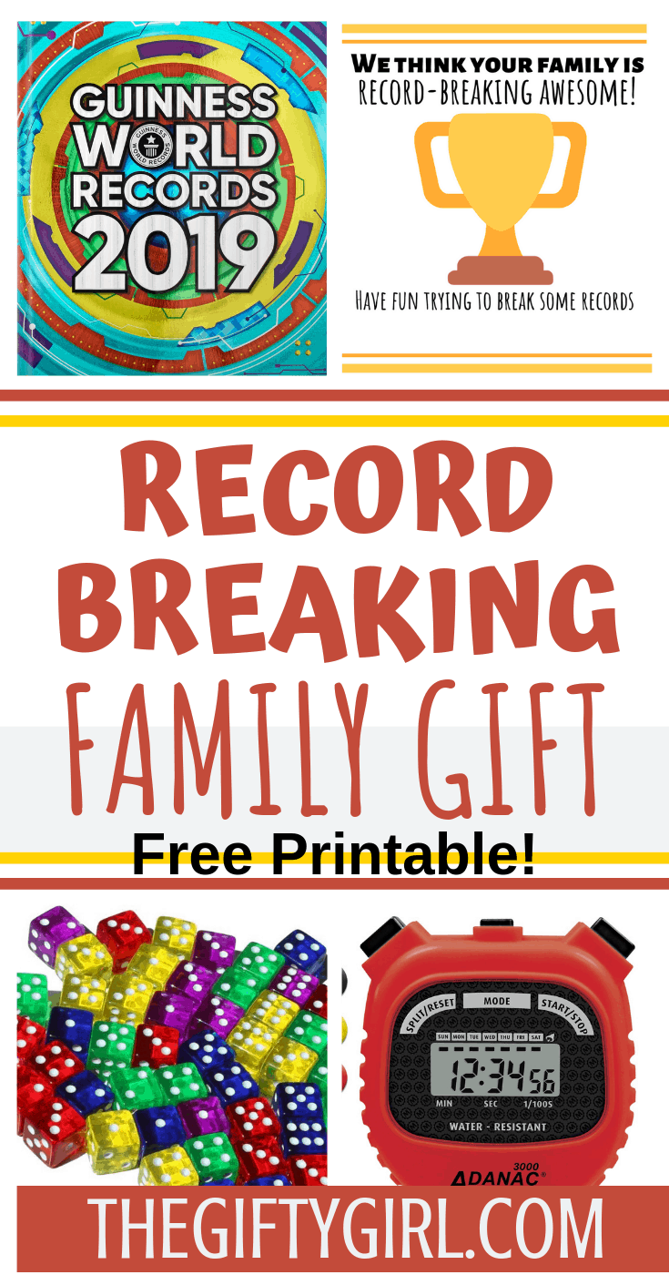 This super fun family gift is great for families of all ages! This record-breaking family gift has fun activities that everyone will enjoy. Try and break the record for the most pogo jumps or stacked dice (blindfolded!). #familygiftidea #wholefamilygift #familygiftexchange #creativegiftidea #thoughtfulgiftidea #uniquegiftidea #christmas #christmasgifts #christmasgiftidea #giftguides
