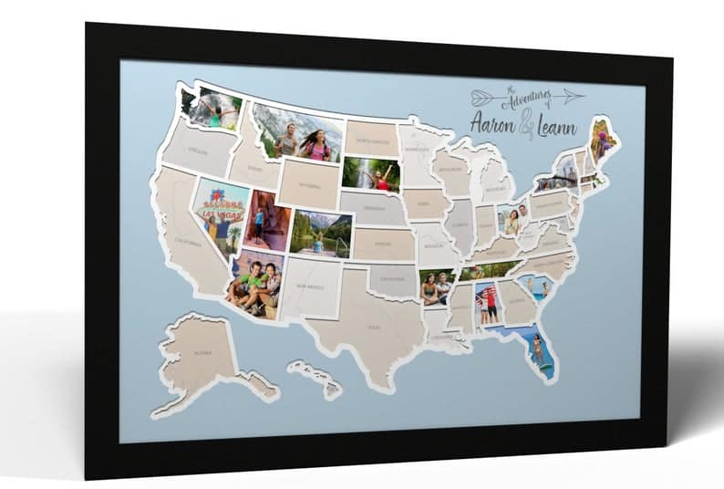 Collage Picture Map Valentine's Gift for Him