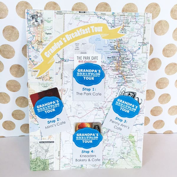 Picture of custom DIY Breakfast Tour Gift for Older Men, a Map with attached gift cards for different breakfast locations