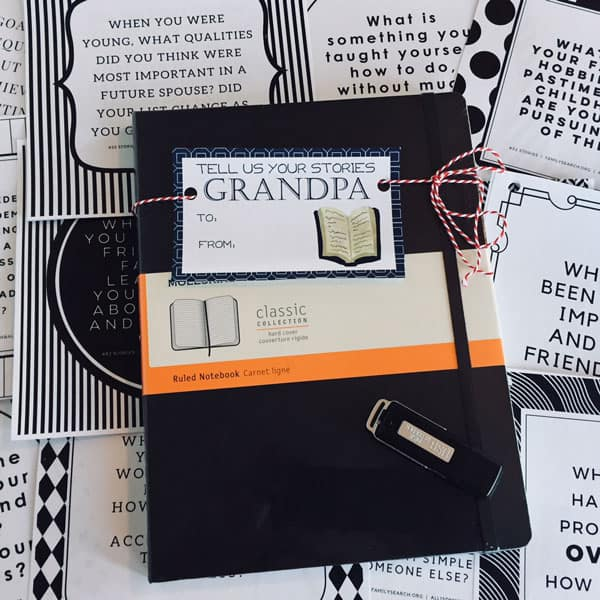 Journal with a gift tag saying Tell me your stories Gift for older men