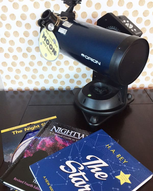Picture of telescope, star chart and astronomy books Astronomy Gift basket gifts for older men