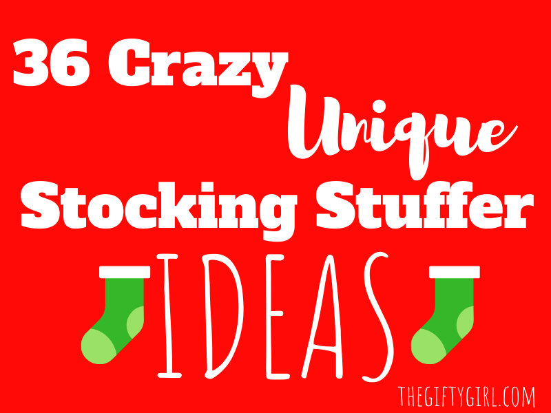 red background with green Christmas stockings and text overlay 36 crazy unique stocking stuffer ideas
