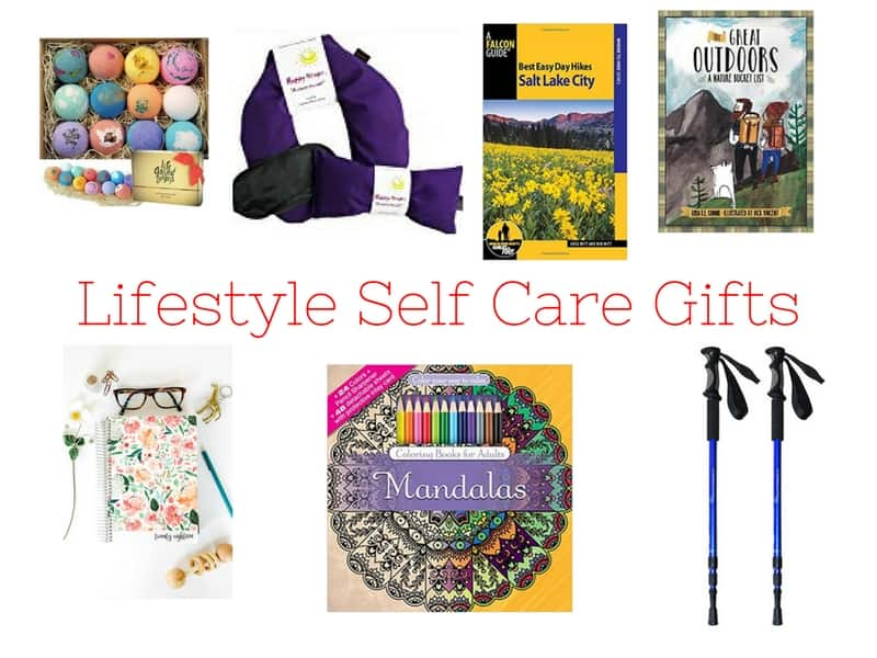 Lifestyle Self-Care Gifts including bath bombs, daily planner, hiking gifts, coloring book.