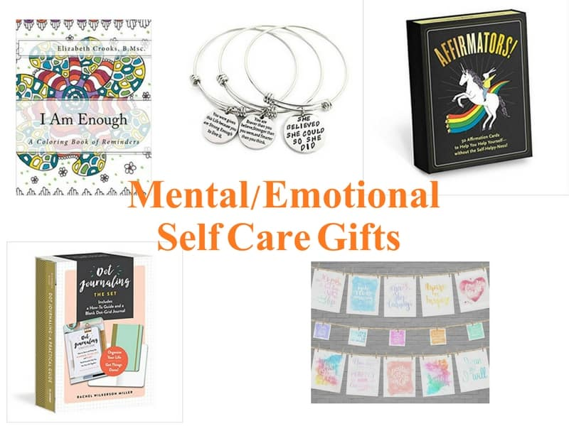 Mental and Emotional Self-Care Gifts for women including affirmation cards, inspiring artwork, bullet journaling kit, jewelry and coloring book.
