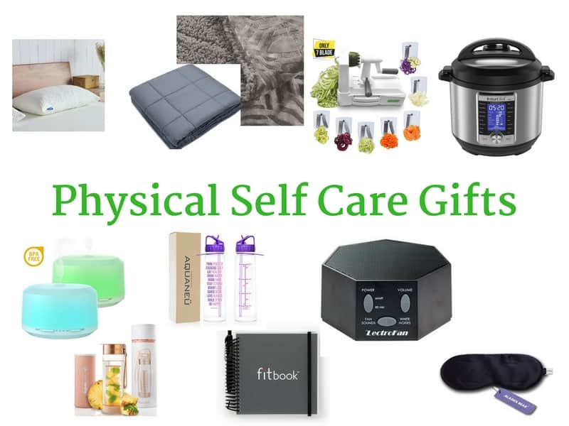 Physical Self-Care Gifts for women to improve sleeping, eating, breathing and hydration