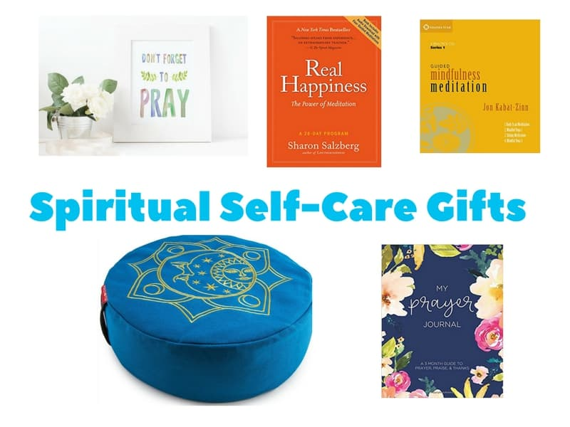 Spiritual Self-Care Gifts for women including prayer artwork, prayer journal, meditation cushion and meditation books and audio guides.
