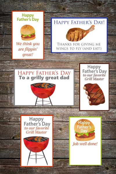 Printable Father's Day Gift Tags Printable Grilling Gift Tags