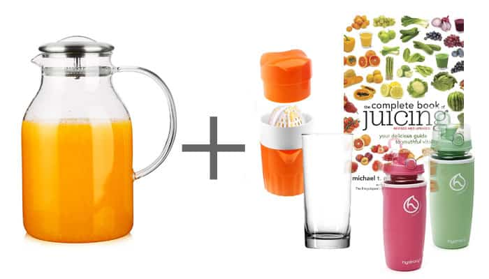 Wedding Gift Pitcher Juicing Book and Water Bottles