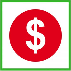 Gift Exchange Ideas, dollar sign in red circle signifying the savings you will have from hosting a family gift exchange.