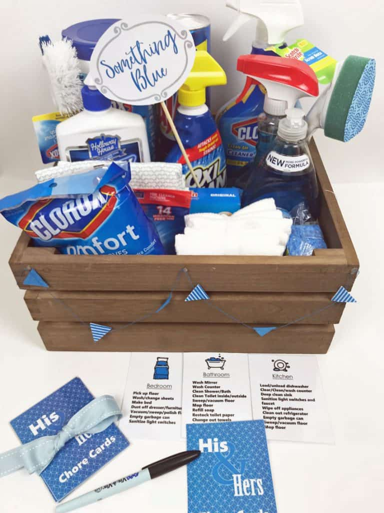 Bridal Shower Gift Basket Ideas Something Borrowed Something Blue basket filled with blue cleaning supplies.