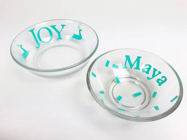 cricut stickers on glass dishes for etching