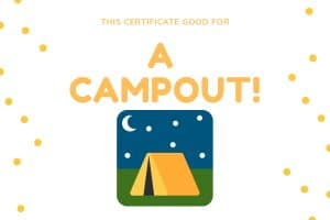 campout certificate for kids