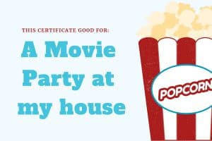 experience gift for kids movie party certificate
