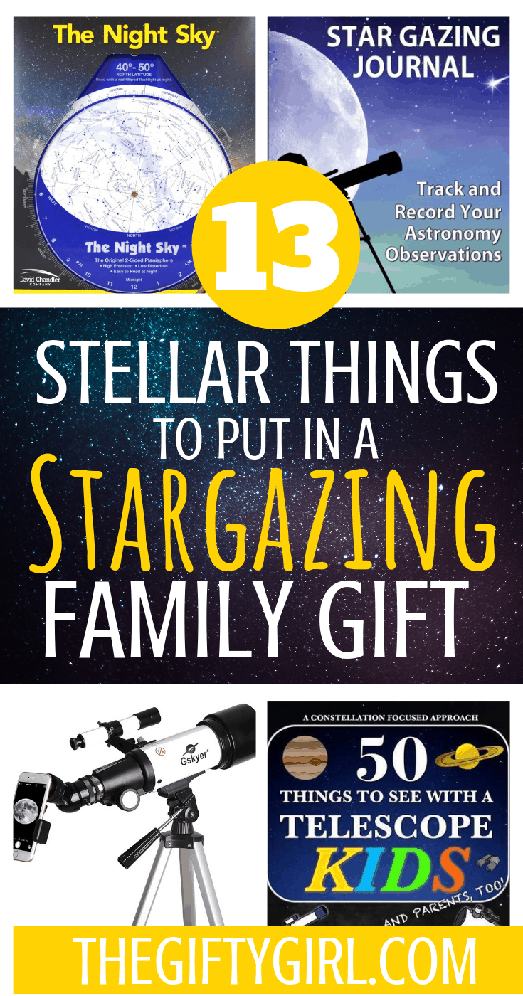 These 13 items are perfect for an out of this world stargazing family gift. A great gift idea for kids of all ages (and parents too!) ##thegiftygirl #familygiftideas #familygift #giftbasket #stargazing #creativegiftideas #thoughtfulgifting #giftideas #christmas #christmas2018 #giftguides