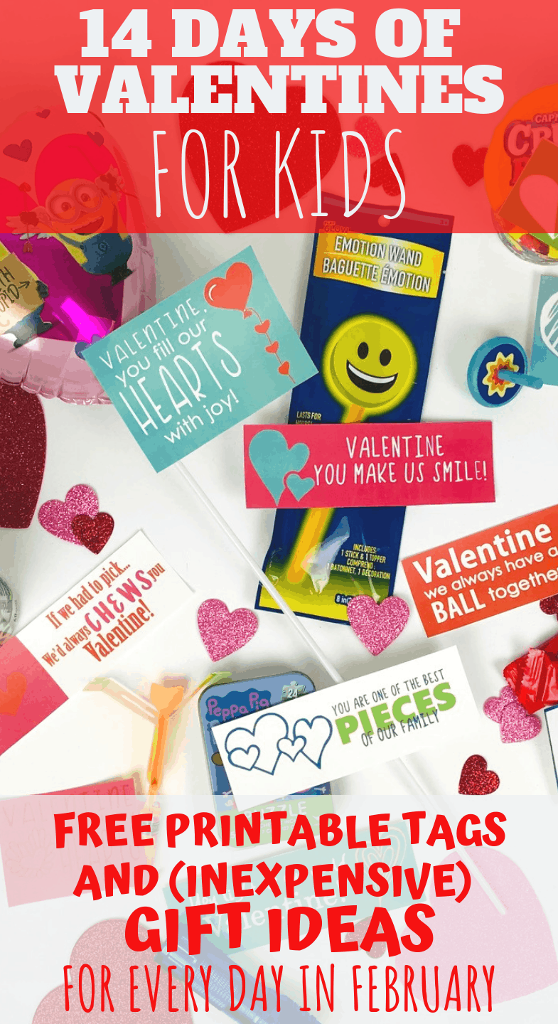 A fun and easy way to shower your kids this Valentines season! 14 different (inexpensive) gift ideas plus free printable tags to give your kids a little Valentines love every day in February. #valentines #creativevalentinesideas #valentinesforkids #freeprintablevalentines #valentinesgifts #valentinesgiftideas #gifttags #valentinesday