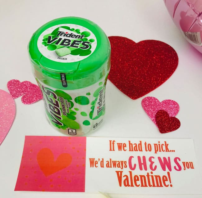 We'd always chews you Valentine Gift Tag for gum gift from parents
