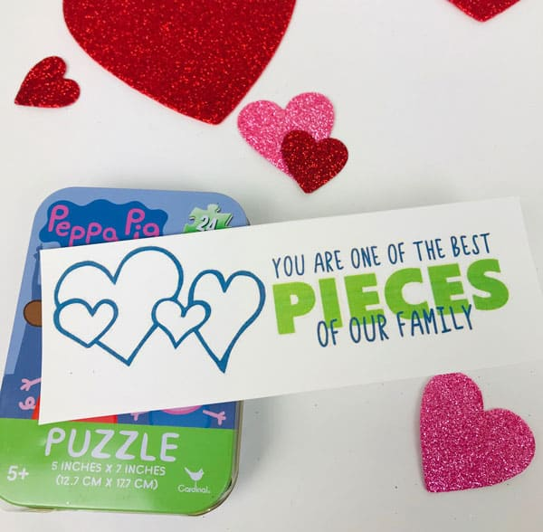 puzzle gift tag for DIY Valentine's Gift for Kids