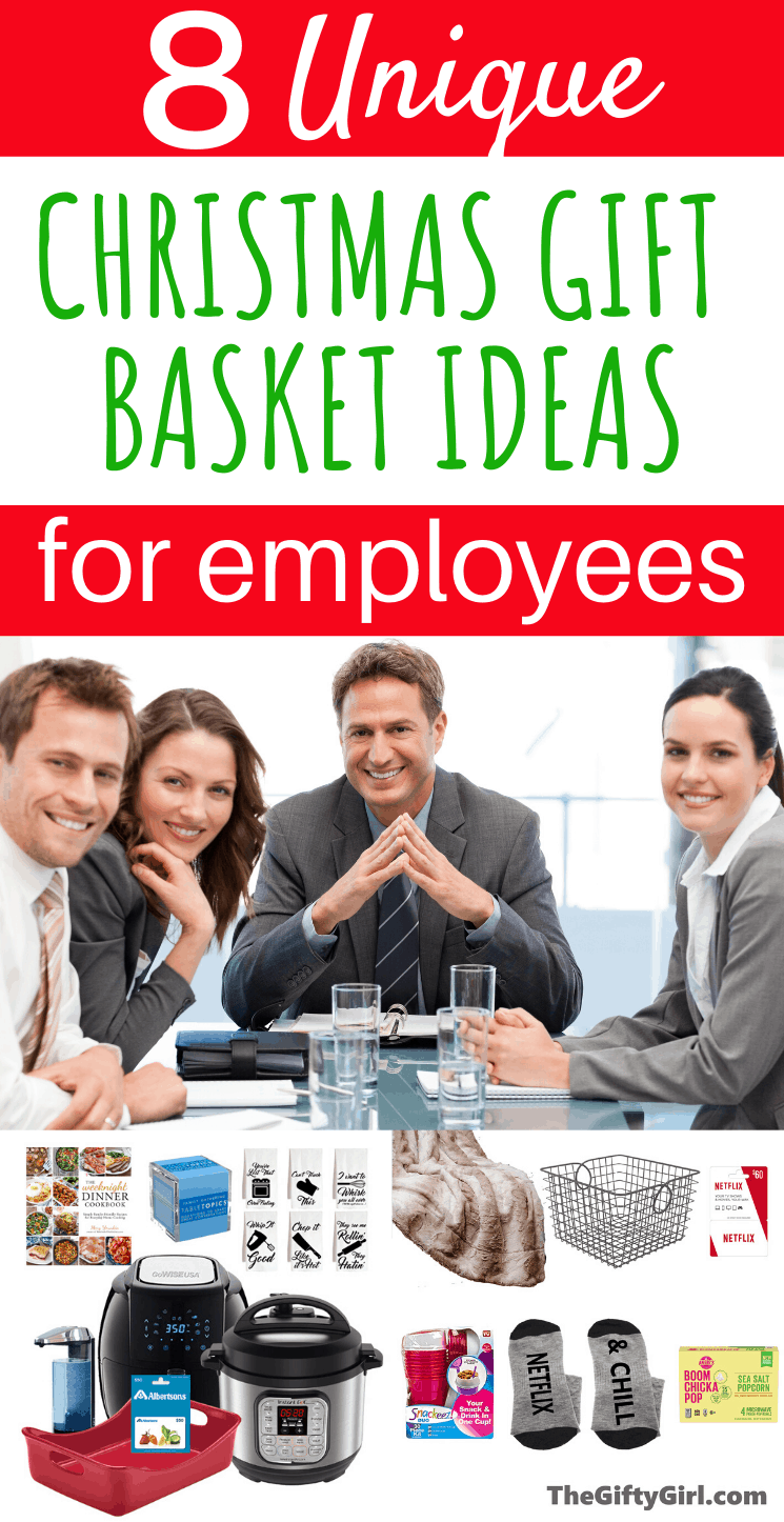 If you are looking for unique and creative Christmas Gifts for employees here are 8 unique Christmas Gift Baskets. These Christmas Gifts for employees from the boss work for every budget...you can buy one gift basket item or several! #Officegiftguide #foundonamazon #giftideasforemployees #Christmasgiftsforemployees #corporategiftideas #2019Corporategiftideas