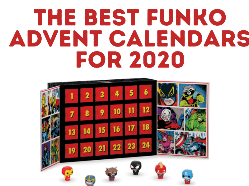 Photo of Marvel Funko Advent Calendar with 7 Marvel characters and text overlay The Best Funko Advent Calendars for 2020.