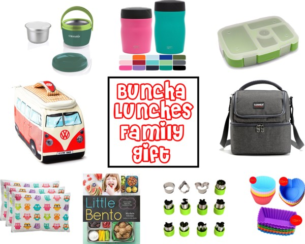 A picture of useful gifts for lunch including lunch boxes, bento boxes, cheese cutters, mini crock pot. With the text overlay Buncha Lunches Family Gift.