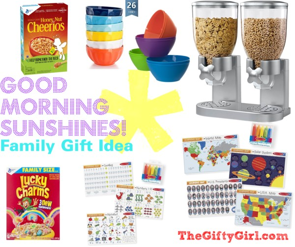 """Useful gifts for a good morning including cereal dispensers, bowls, placemats and cereal with a text overlay """"Good Morning Sunshines"""" Family Gift Idea"""