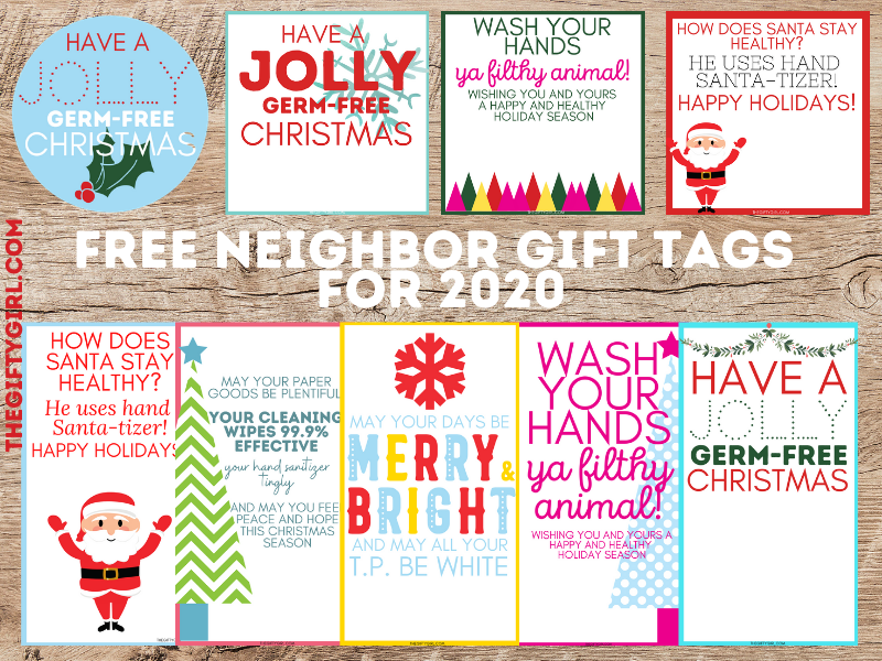 Graphic of 9 free neighbor Christmas gift tags on a wooden table