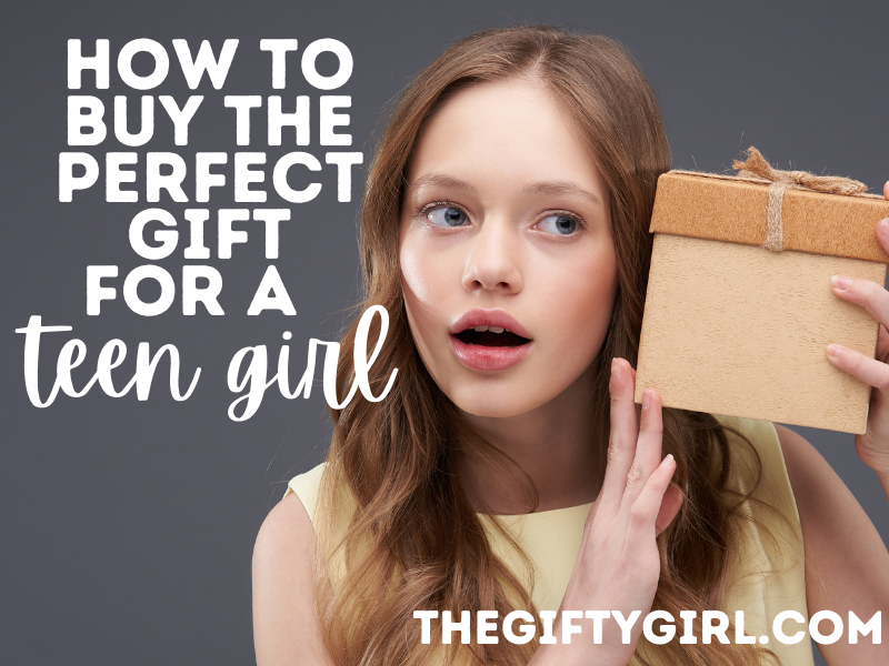Photo of a teenage girl holding a brown gift box to her ear