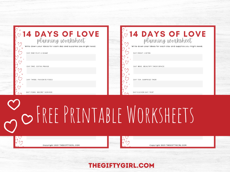 wood background with two worksheets on top. Worksheets are titled 14 days of love planning worksheet.