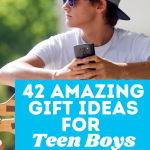 Teen Boy holding his phone, hat on backwards, sunglasses with a skateboard on his lap. Text overlay says 42 amazing gift ideas for teen boys from a mom of five. The Gifty Girl dot com
