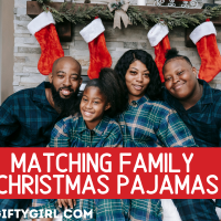 Picture of Black Family with green plain family Christmas Pajamas with text overlay that says Matching Family Christmas Pajamas www the gifty girl dot com